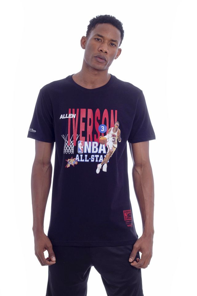 Camiseta-Mitchell---Ness-Estampada-NBA-All-Star-Allen-Iverson-Preta