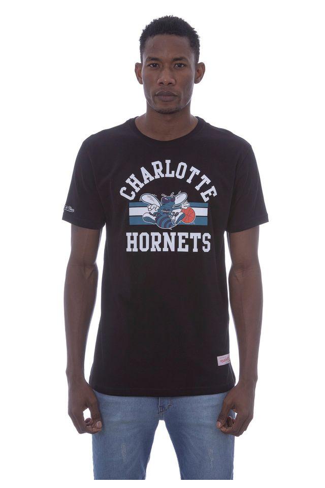 Camiseta-Mitchell---Ness-Estampada-Team-Charlotte-Hornets-Preta